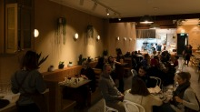 Lillah's dining area runs from bar to a bright open kitchen.