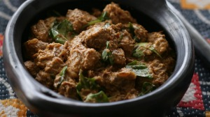 Indian lamb curry with spinach.
