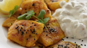 Speedy spicy fish with cooling raita.