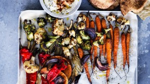 Roast vegetables with flatbreads and whipped feta.