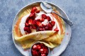 Strawberry and cream crepes.