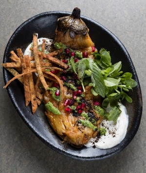 The charcoal eggplant with pomegranate, pine nuts and mint salad.