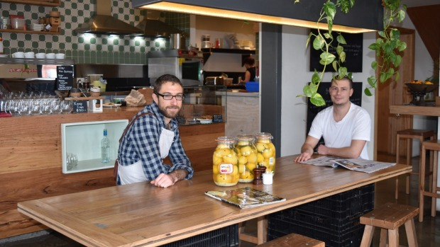 Hugh Whitehead and Chris Welsh of Geelong's  Little Green Corner. The cafe's plastics-free efforts include having milk ...