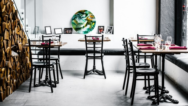 The dining room at Ortzi, Surry Hills featuring tables handmade by the owners.