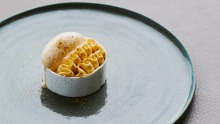 Thanksgiving meets pavlova: Spiced pumpkin creme diplomat, shiitake ice-cream and meringue.
