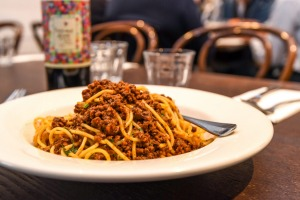 Spaghetti bolognese at The Waiters Restaurant.