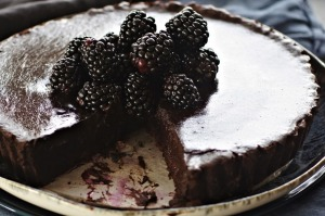 Dark chocolate, blackberry and vanilla tart.