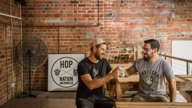 Hop Nation co-owners and brewers Duncan Gibson and Sam Hambour produce The Karma, a 5 per cent ABV oatmeal stout.