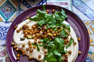 Perfect simplicity: A plate of hummus.