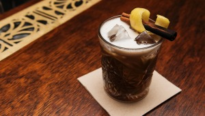The old grogram cocktail, featuring stout and house-made spiced rum.