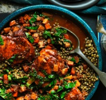 Neil Perry's braised chicken with lentils.