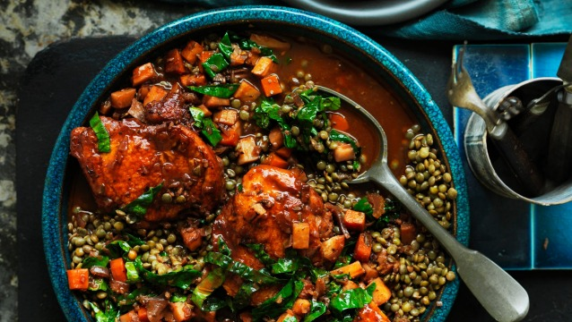 Braised chicken with lentils.