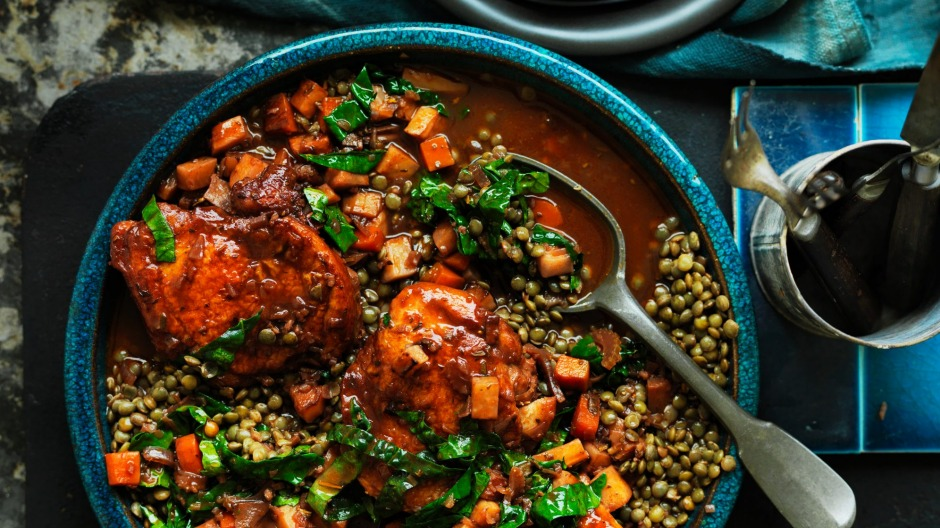 Bulk out your casserole with legumes in Neil Perry's braised chicken with lentils.