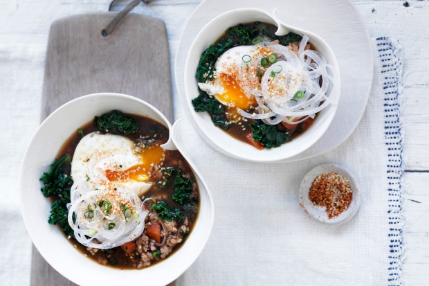 Put an egg on it! Jill Dupleix's spicy chicken miso soup with poached egg <a ...
