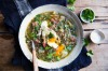 Karen Martini's hearty lentil and ham hock soup with parsley and poached eggs <a ...