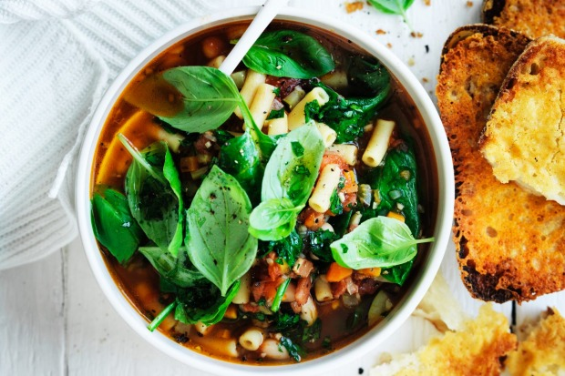 Adam Liaw's thick minestrone with parmesan croutons <a ...