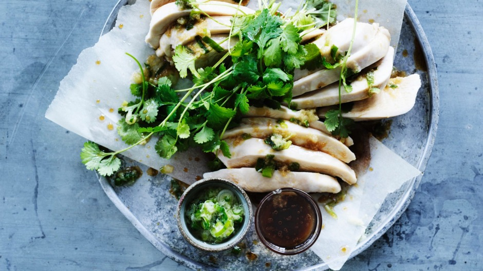 Steamed chicken with green spring onion oil.