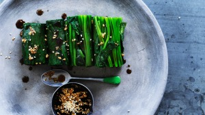 Spinach with lemon, soy and sesame dressing.