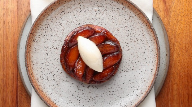 Tarte tatin flecked with smoked vanilla.