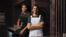 Giovanni Pilu (right) with head chef Rey Ambas of AcquaFresca by Pilu at the Harbord Diggers redevelopment.