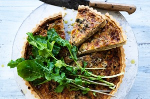 Red wine, caramelised onion and cheddar quiche.