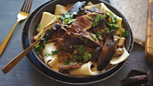 Slow-cooked beef short rib stroganoff.