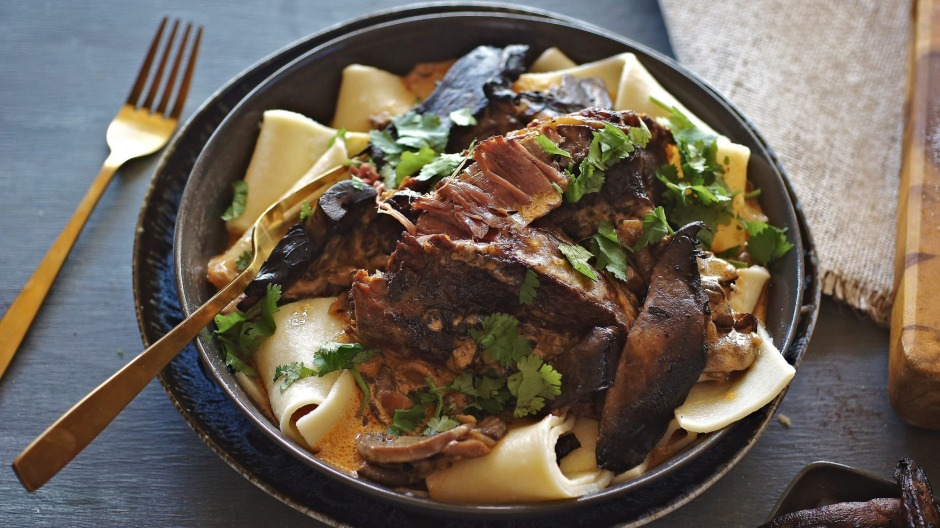 Slow-cooked beef stroganoff with thick strips of pasta.