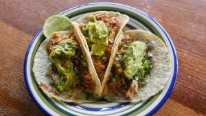 Don't miss the carnitas - slow-cooked shredded pork tacos.