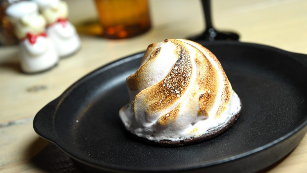 Vesuvius dessert shrouded in an aquafaba (chickpea brine) meringue.