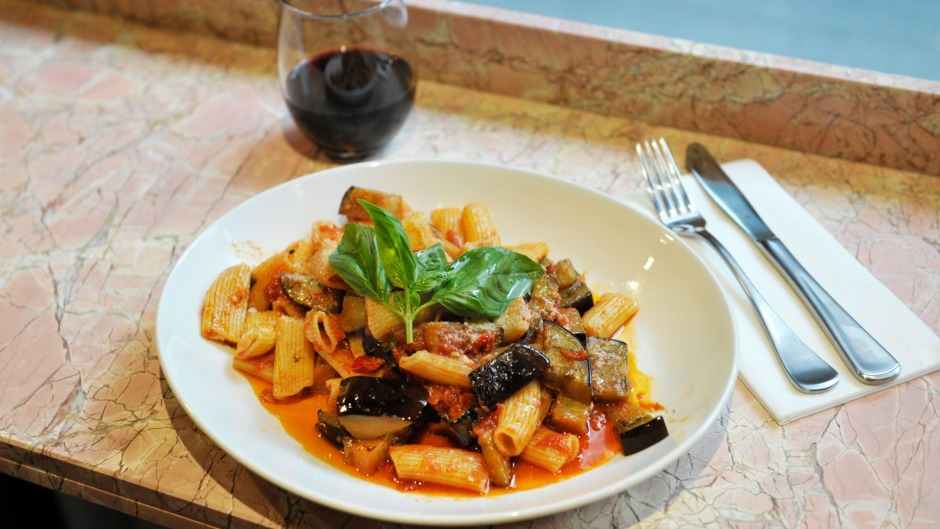 Rigatoni melanzane (eggplant, napoli, garlic and fresh basil).