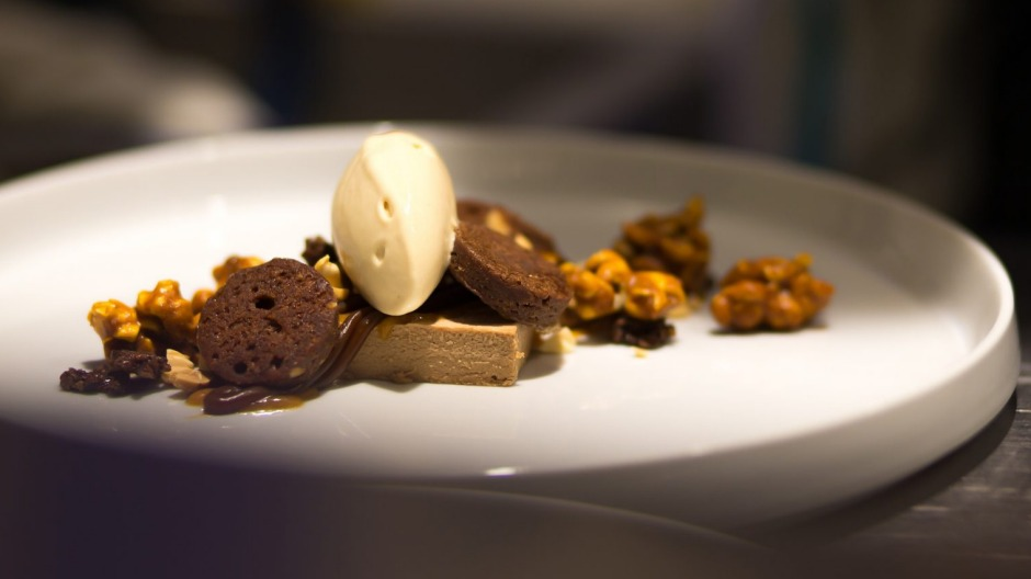 Peanut-butter and chocolate with caramelised popcorn and popcorn gelato from Mosquito.