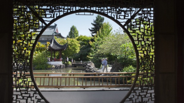 The view through a screen at Dr Sun Yat-Sen Classical Chinese Garden in Vancouver.