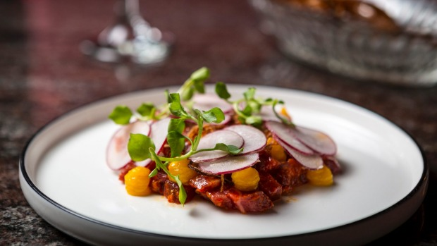 Beef tartare with fermented chilli and radishes.