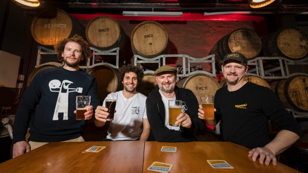 Inner West craft brewers celebrate the news: Chris Sidwa from Batch, Matt King from The Grifter, Richard Adamson from ...