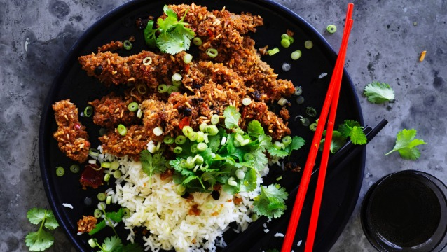 Neil Perry's steamed spicy lamb with crunchy rice coating.