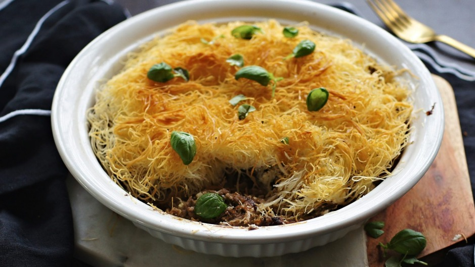 Slow-cooked lamb topped with a nest of kataifi pastry.