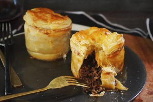Slow-cooked beef short rib, miso and ale pies.