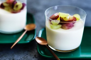Ginger panna cotta with sweet grapes.