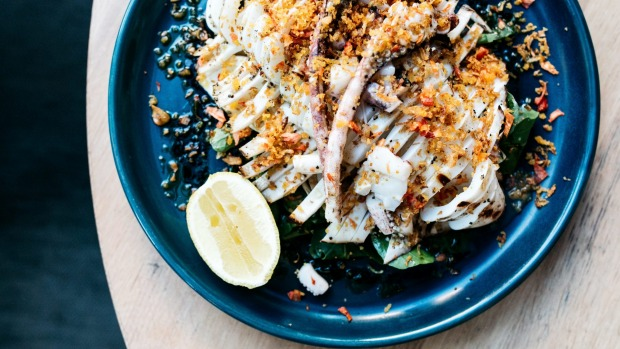 Whole char-grilled southern calamari with pickled fennel, tomato pangrattato and fresh lemon at the Alcott, Lane Cove.
