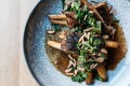 Twice-cooked saltbush lamb ribs with almond, sumac and coriander at The Alcott.