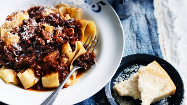 Neil Perry's oxtail ragu with pappardelle pasta recipe.