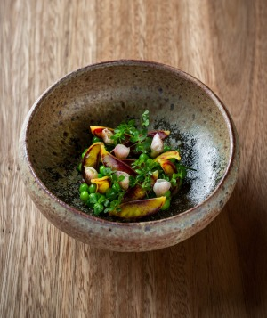 Red speckled peas, miso and anchovy.