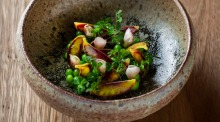 Pea dish on the menu at Quay 2.0 in Sydney.