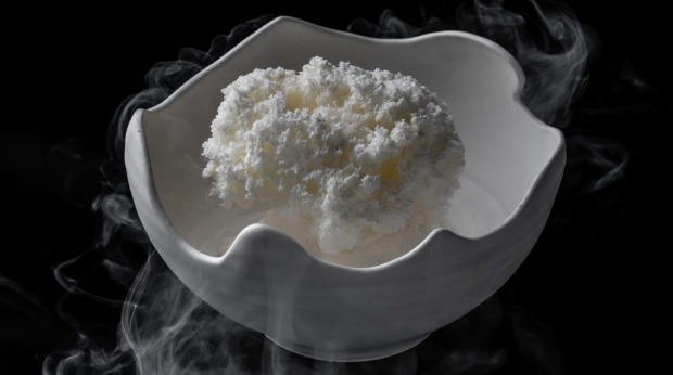 The 'white coral' dessert of aerated ganache at Quay.