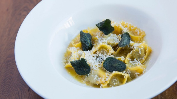 Veal and rabbit agnolotti with sage butter.