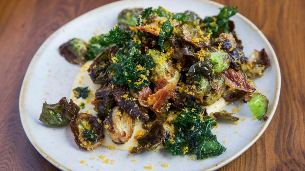 Brussel sprouts get the carbonara treatment.