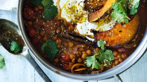 Jill Dupleix's chickpea and pumpkin bake - the most popular recipe for July.