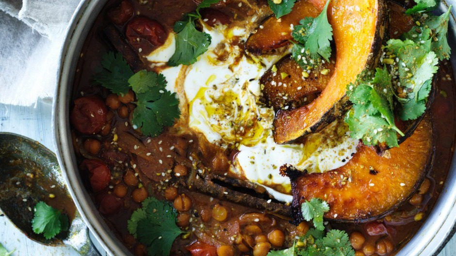 Spiced chickpea stew topped with roast pumpkin wedges.