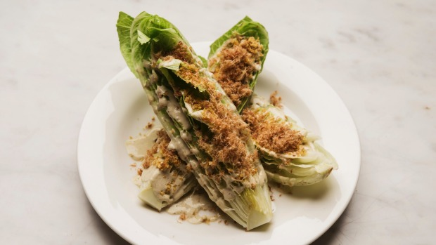 Crisp cos with smoked mussel dressing and prosciutto crumbs.