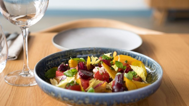 Non-fish bait: mixed beetroot salad with feta.